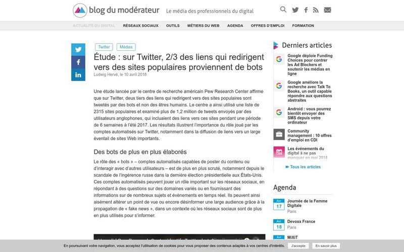 Étude : sur Twitter, 2/3 des liens qui redirigent vers des sites populaires proviennent de bots - Blog du Modérateur