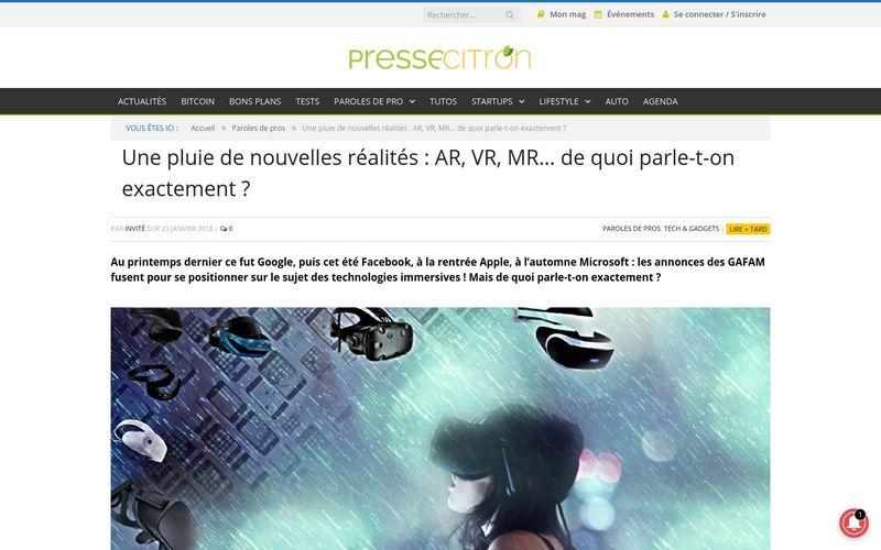 Presse Citron : Une pluie de nouvelles réalités : AR, VR, MR... de quoi parle-t-on exactement ?